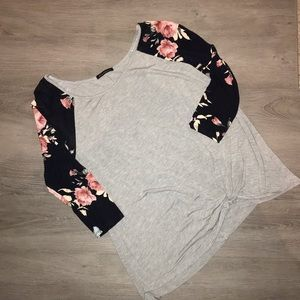 Floral dolman sleeve and gray twist tunic
